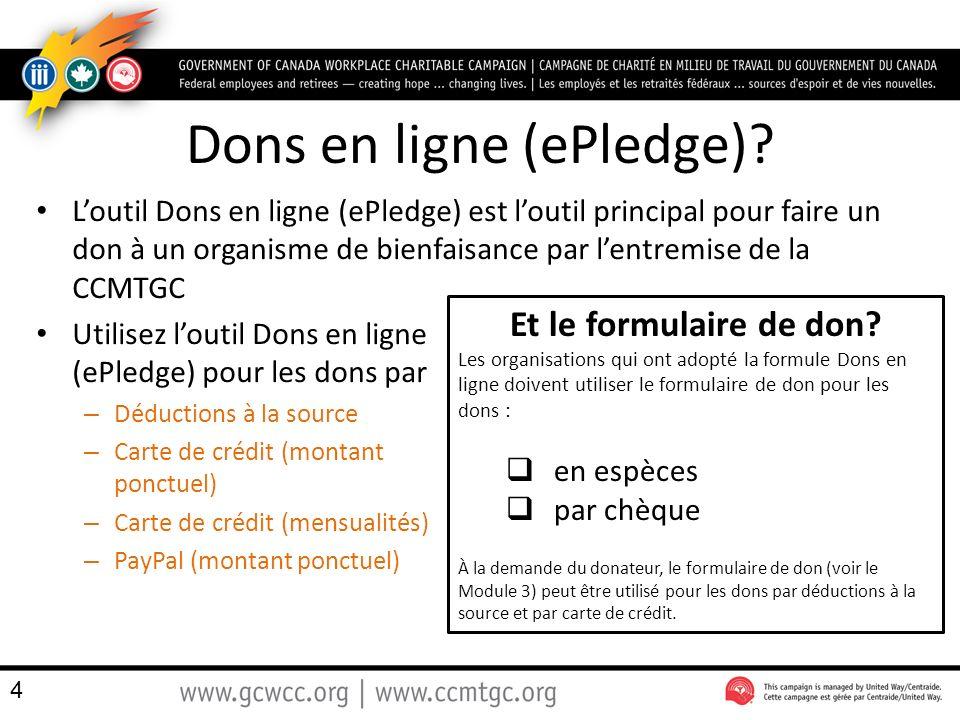 Dons en ligne (ePledge).