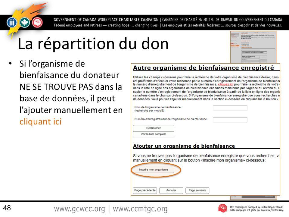 La répartition du don Si lorganisme de bienfaisance du donateur NE SE TROUVE PAS dans la base de données, il peut lajouter manuellement en cliquant ici 48