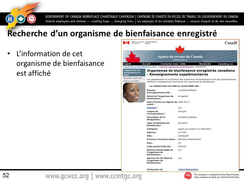 Recherche dun organisme de bienfaisance enregistré Linformation de cet organisme de bienfaisance est affiché 52