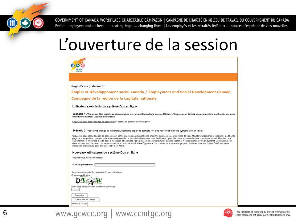Notez – Que le nom du marchand est Centraide Ottawa, le gestionnaire de la CCMTGC à la RCN – que le donateur peux choisir de modifier la langue de linterface 87