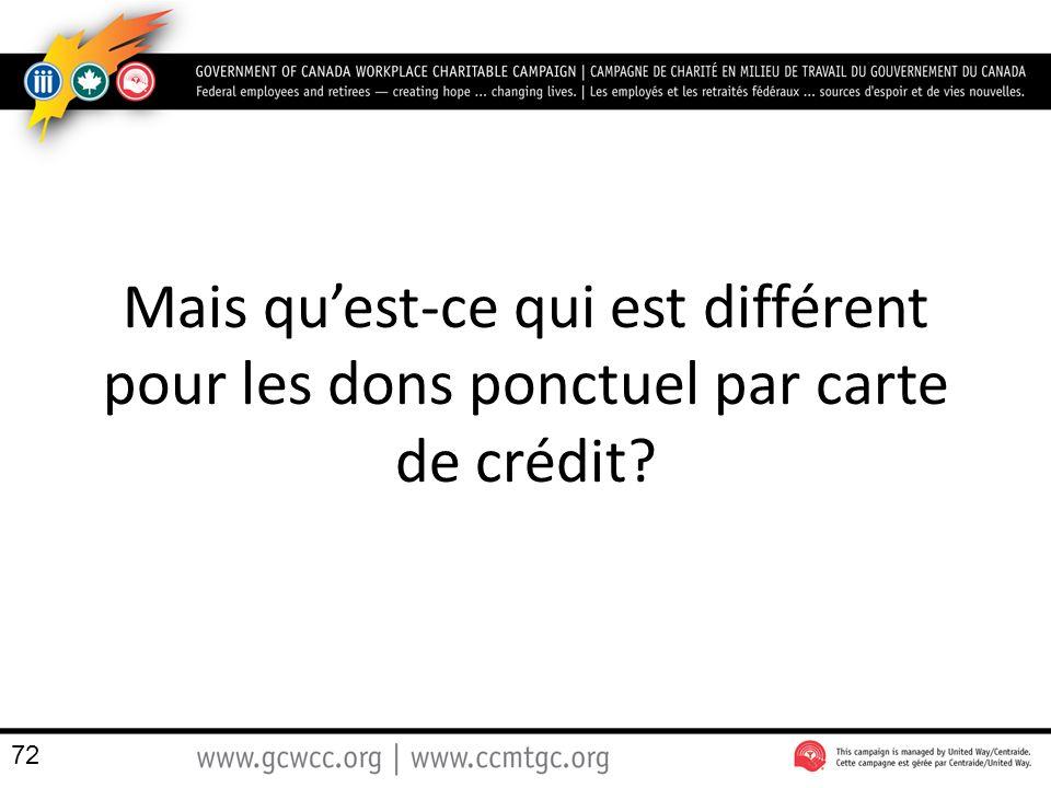Mais quest-ce qui est différent pour les dons ponctuel par carte de crédit? 72