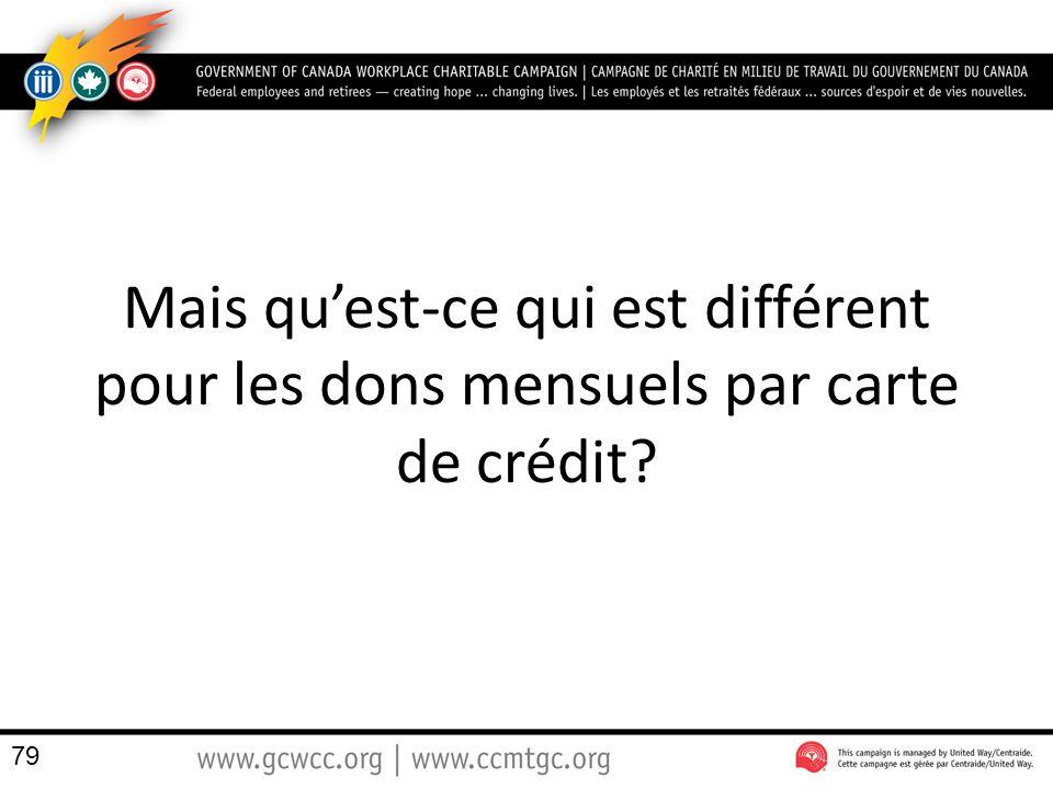 Mais quest-ce qui est différent pour les dons mensuels par carte de crédit? 79