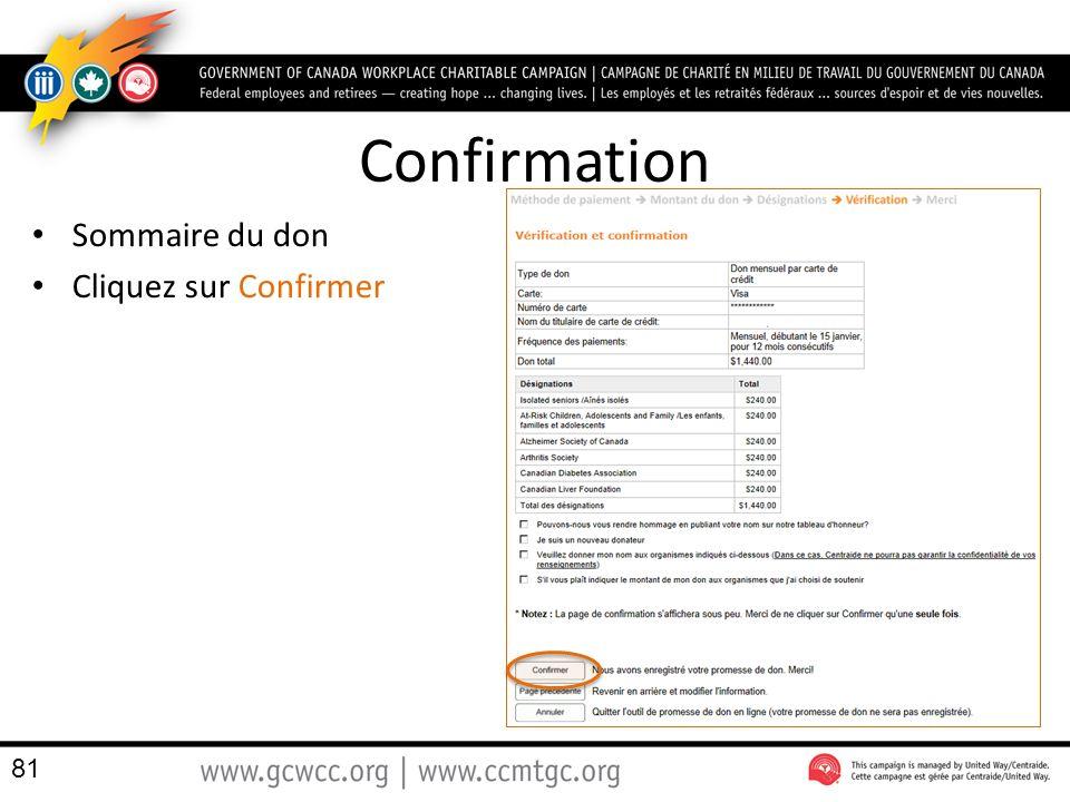 Confirmation Sommaire du don Cliquez sur Confirmer 81