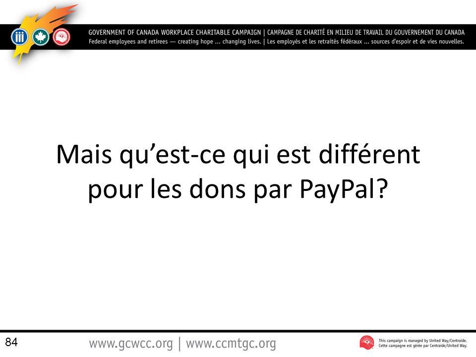 Mais quest-ce qui est différent pour les dons par PayPal? 84