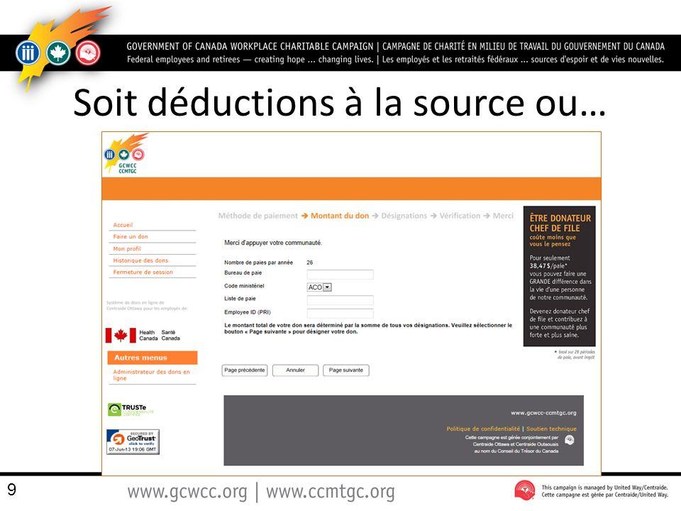 La répartition du don Quelle que soit la désignation du donateur, le montant total du don sera affiché en haut de lécran 60 $1200.00 $200.00