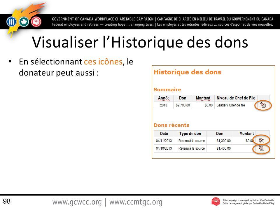 Visualiser lHistorique des dons En sélectionnant ces icônes, le donateur peut aussi : 98