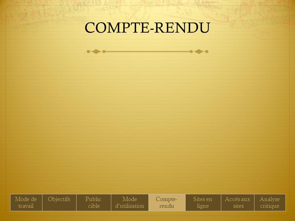 COMPTE-RENDU Mode de travail ObjectifsPublic cible Mode dutilisation Compte- rendu Sites en ligne Accès aux sites Analyse critique