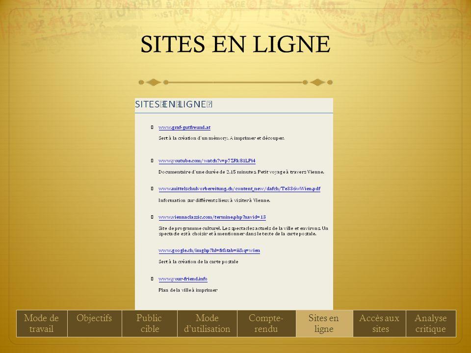 SITES EN LIGNE Mode de travail ObjectifsPublic cible Mode dutilisation Compte- rendu Sites en ligne Accès aux sites Analyse critique