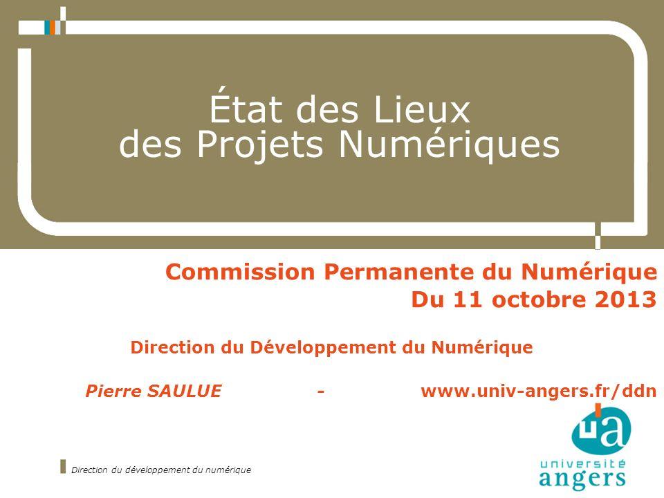 État des Lieux des Projets Numériques Commission Permanente du Numérique Du 11 octobre 2013 Direction du Développement du Numérique Pierre SAULUE - www.univ-angers.fr/ddn Direction du développement du numérique