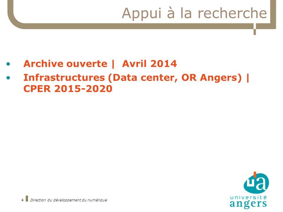 4 Appui à la recherche Archive ouverte | Avril 2014 Infrastructures (Data center, OR Angers) | CPER 2015-2020 Direction du développement du numérique