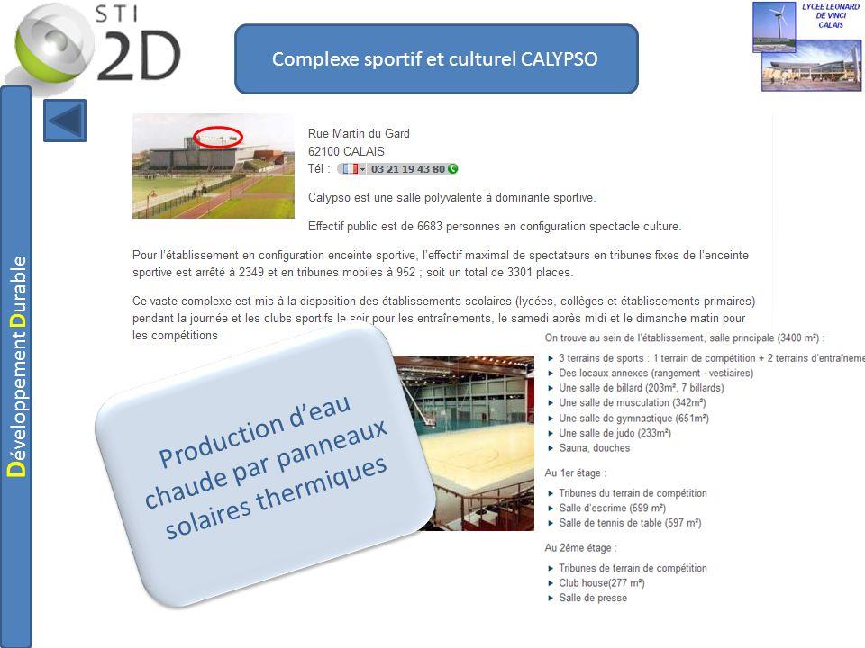 Complexe sportif et culturel CALYPSO Production deau chaude par panneaux solaires thermiques D éveloppement D urable