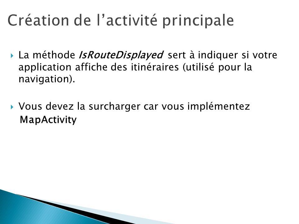 La méthode IsRouteDisplayed sert à indiquer si votre application affiche des itinéraires (utilisé pour la navigation). Vous devez la surcharger car vo