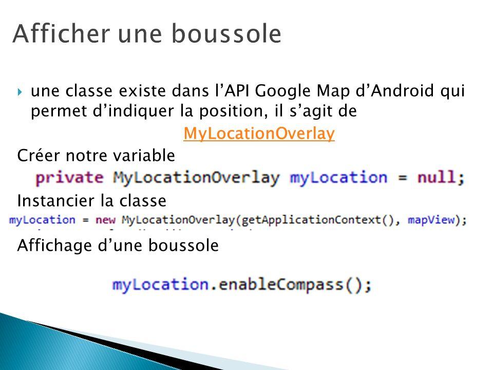 une classe existe dans lAPI Google Map dAndroid qui permet dindiquer la position, il sagit de MyLocationOverlay Créer notre variable Instancier la cla
