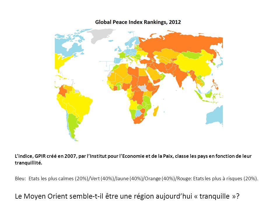 Lindice, GPIR créé en 2007, par lInstitut pour lEconomie et de la Paix, classe les pays en fonction de leur tranquillité. Bleu: Etats les plus calmes