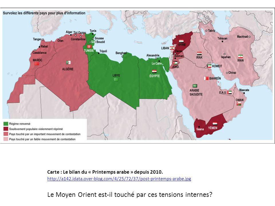 Carte : Le bilan du « Printemps arabe » depuis 2010. http://a142.idata.over-blog.com/4/25/72/37/post-printemps-arabe.jpg Le Moyen Orient est-il touché