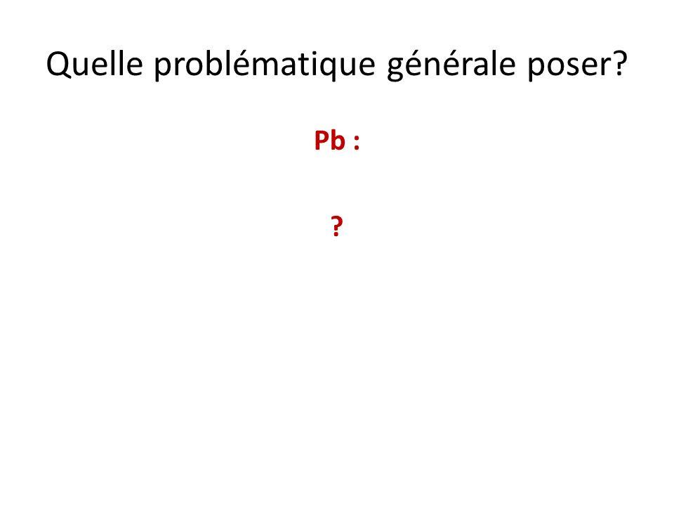 Quelle problématique générale poser? Pb : ?