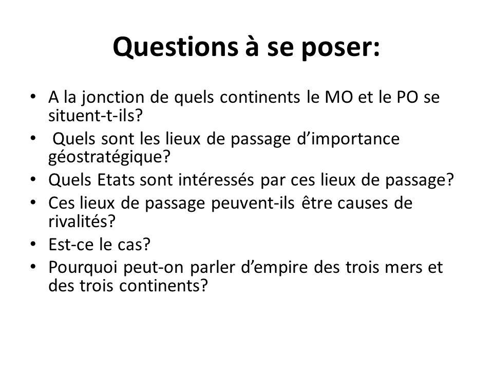 Questions à se poser: A la jonction de quels continents le MO et le PO se situent-t-ils? Quels sont les lieux de passage dimportance géostratégique? Q