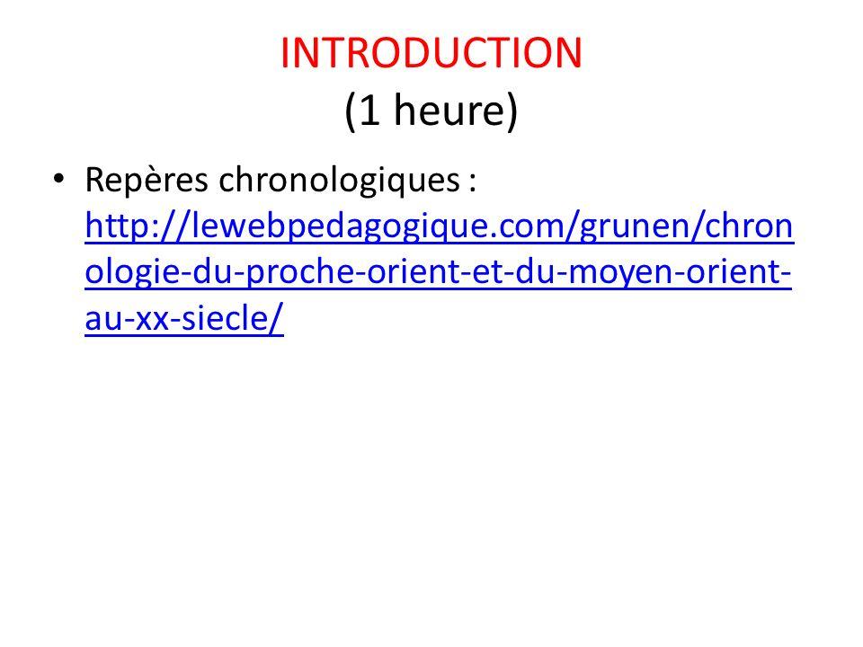 INTRODUCTION (1 heure) Repères chronologiques : http://lewebpedagogique.com/grunen/chron ologie-du-proche-orient-et-du-moyen-orient- au-xx-siecle/ htt