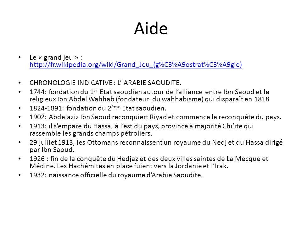 Aide Le « grand jeu » : http://fr.wikipedia.org/wiki/Grand_Jeu_(g%C3%A9ostrat%C3%A9gie) http://fr.wikipedia.org/wiki/Grand_Jeu_(g%C3%A9ostrat%C3%A9gie