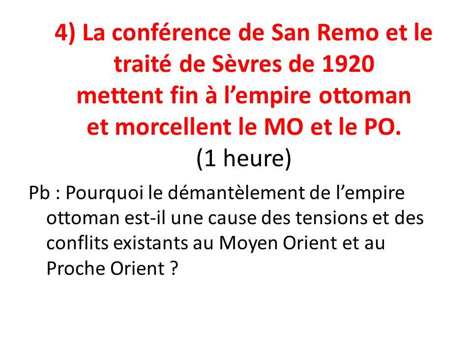 4) La conférence de San Remo et le traité de Sèvres de 1920 mettent fin à lempire ottoman et morcellent le MO et le PO. (1 heure) Pb : Pourquoi le dém