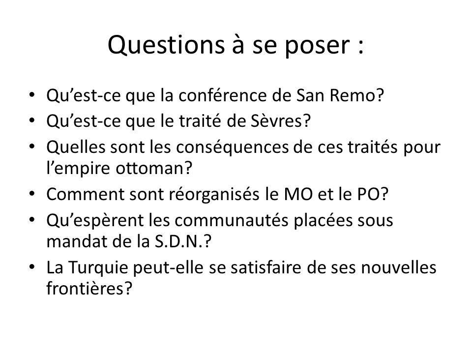 Questions à se poser : Quest-ce que la conférence de San Remo? Quest-ce que le traité de Sèvres? Quelles sont les conséquences de ces traités pour lem