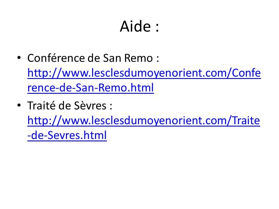 Aide : Conférence de San Remo : http://www.lesclesdumoyenorient.com/Confe rence-de-San-Remo.html http://www.lesclesdumoyenorient.com/Confe rence-de-Sa