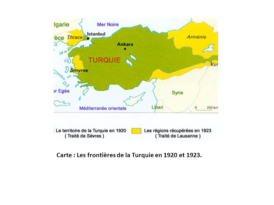 Carte : Les frontières de la Turquie en 1920 et 1923.