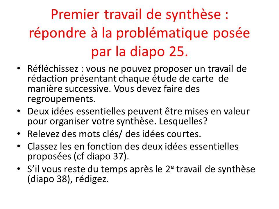 Premier travail de synthèse : répondre à la problématique posée par la diapo 25. Réfléchissez : vous ne pouvez proposer un travail de rédaction présen