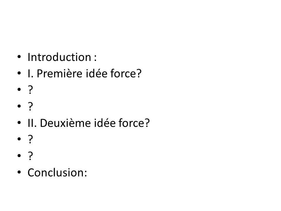 Introduction : I. Première idée force? ? II. Deuxième idée force? ? Conclusion: