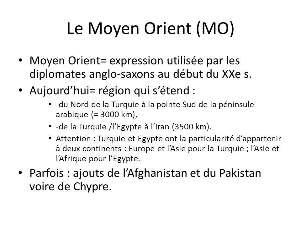 Le Moyen Orient (MO) Moyen Orient= expression utilisée par les diplomates anglo-saxons au début du XXe s. Aujourdhui= région qui sétend : -du Nord de