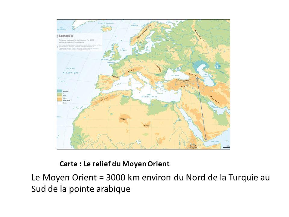 Carte : Le relief du Moyen Orient Le Moyen Orient = 3000 km environ du Nord de la Turquie au Sud de la pointe arabique