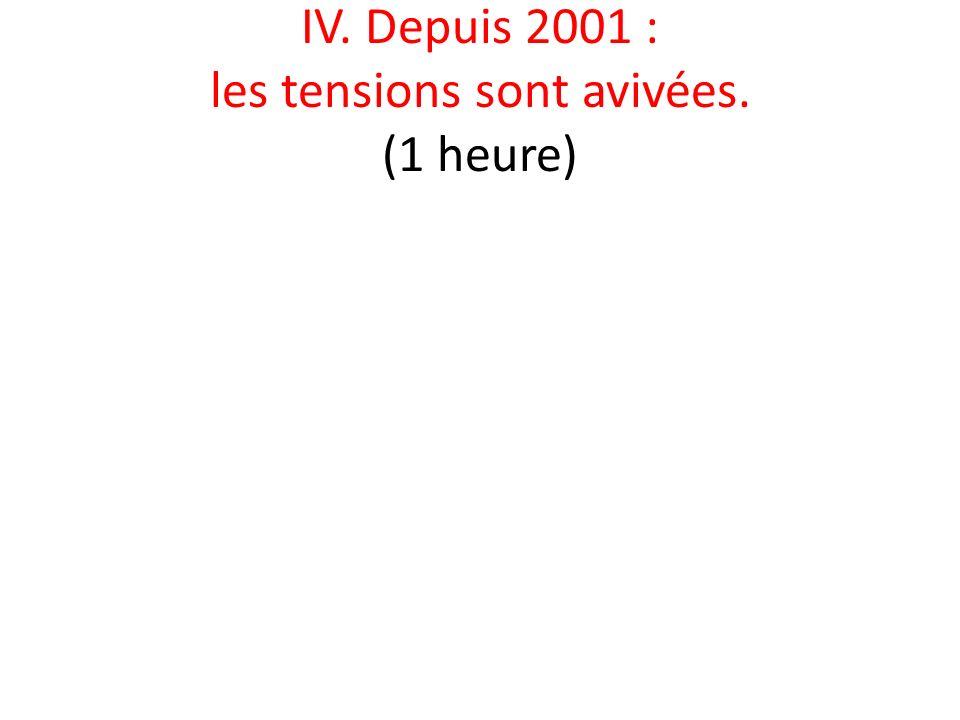 IV. Depuis 2001 : les tensions sont avivées. (1 heure)
