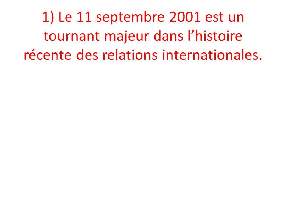 1) Le 11 septembre 2001 est un tournant majeur dans lhistoire récente des relations internationales.