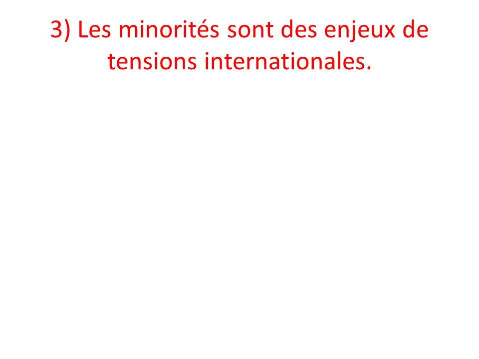 3) Les minorités sont des enjeux de tensions internationales.