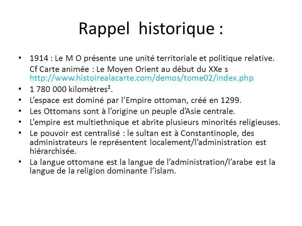 Rappel historique : 1914 : Le M O présente une unité territoriale et politique relative. Cf Carte animée : Le Moyen Orient au début du XXe s http://ww