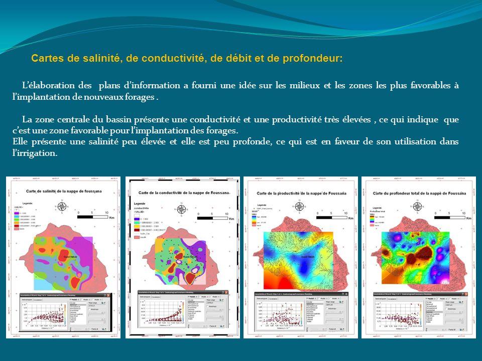 Cartes de salinité, de conductivité, de débit et de profondeur: Lélaboration des plans dinformation a fourni une idée sur les milieux et les zones les