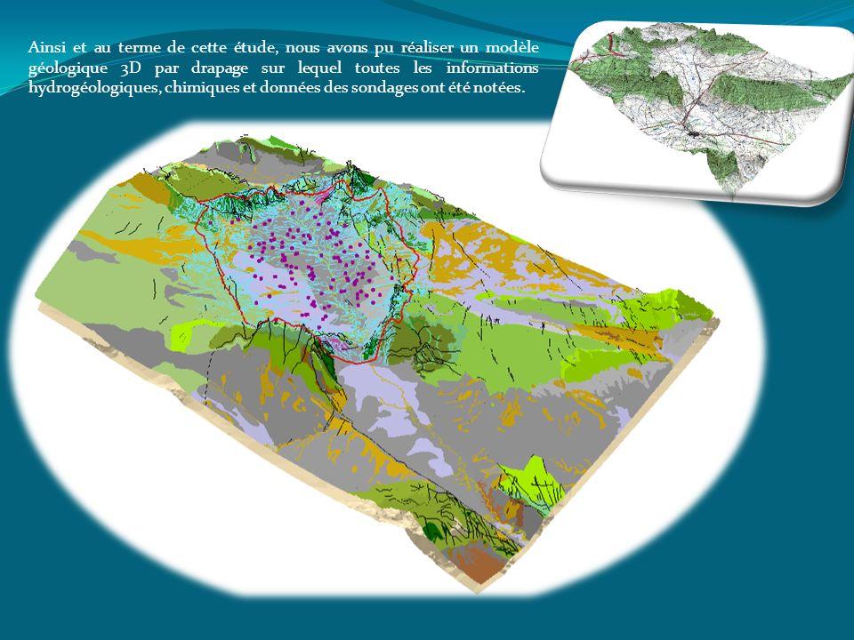 Ainsi et au terme de cette étude, nous avons pu réaliser un modèle géologique 3D par drapage sur lequel toutes les informations hydrogéologiques, chim