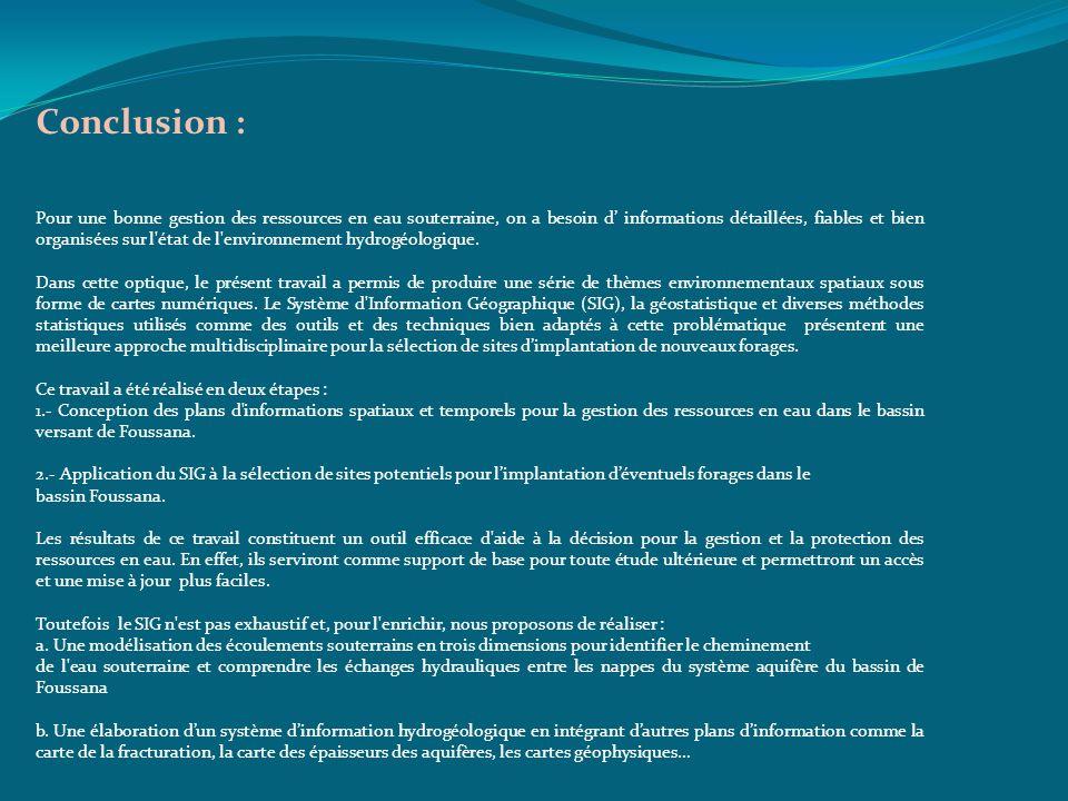 Conclusion : Pour une bonne gestion des ressources en eau souterraine, on a besoin d informations détaillées, fiables et bien organisées sur l'état de