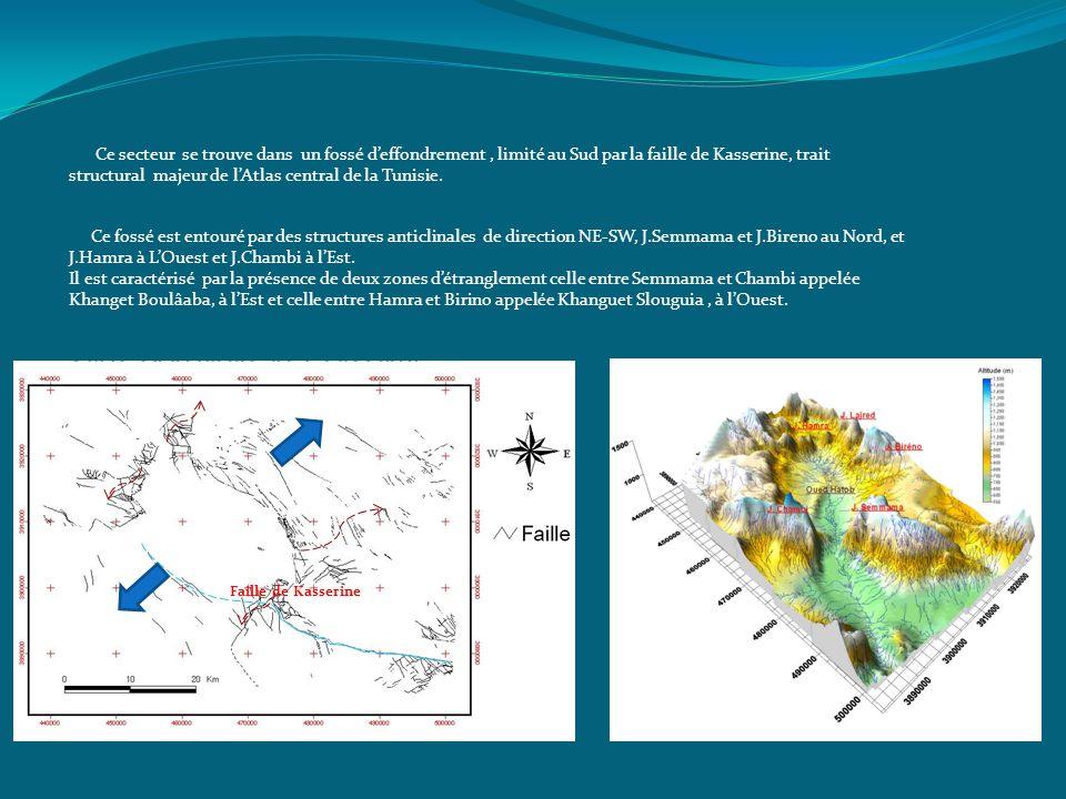 Ce fossé est entouré par des structures anticlinales de direction NE-SW, J.Semmama et J.Bireno au Nord, et J.Hamra à LOuest et J.Chambi à lEst. Il est