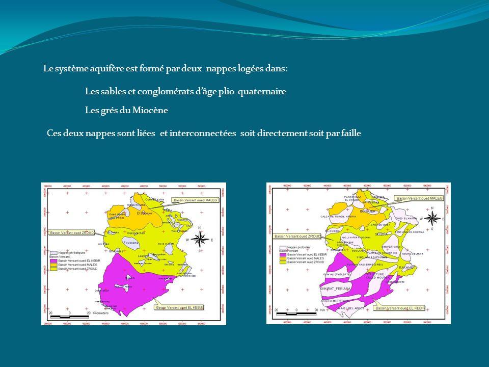 Le système aquifère est formé par deux nappes logées dans: Les grés du Miocène Les sables et conglomérats dâge plio-quaternaire Ces deux nappes sont l
