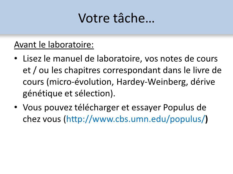 Votre tâche… Pendant le laboratoire: Répondre aux questions et remettre le questionnaire à la fin du lab.
