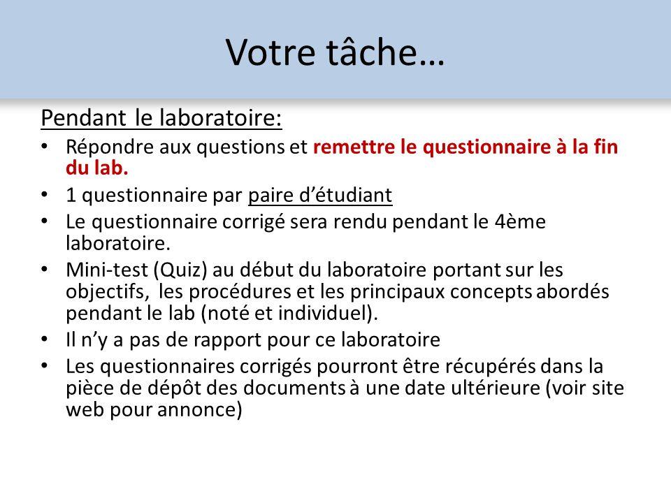 Votre tâche… Pendant le laboratoire: Répondre aux questions et remettre le questionnaire à la fin du lab. 1 questionnaire par paire détudiant Le quest