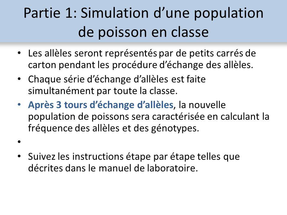 Partie 1: Simulation dune population de poisson en classe Les allèles seront représentés par de petits carrés de carton pendant les procédure déchange