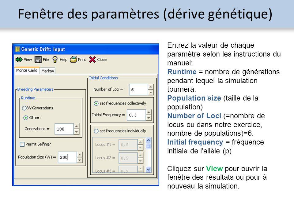 Fenêtre des paramètres (dérive génétique) Entrez la valeur de chaque paramètre selon les instructions du manuel: Runtime = nombre de générations penda