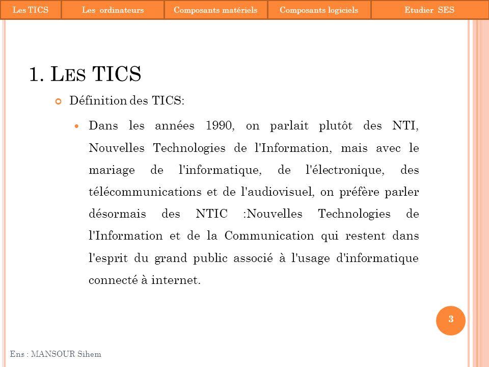 MS DOS (voir PDF) MS WINDOWS 7 (voir PDF) 34 Ens : MANSOUR Sihem 4.