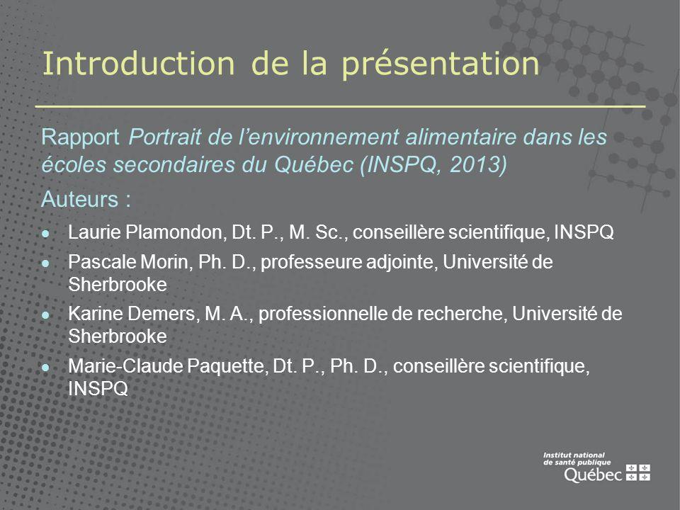 Introduction de la présentation Rapport Portrait de lenvironnement alimentaire dans les écoles secondaires du Québec (INSPQ, 2013) Auteurs : Laurie Plamondon, Dt.