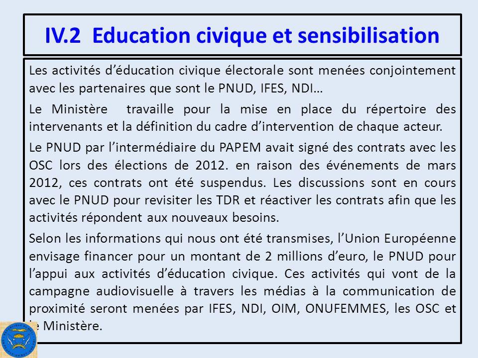 IV.2 Education civique et sensibilisation Les activités déducation civique électorale sont menées conjointement avec les partenaires que sont le PNUD, IFES, NDI… Le Ministère travaille pour la mise en place du répertoire des intervenants et la définition du cadre dintervention de chaque acteur.