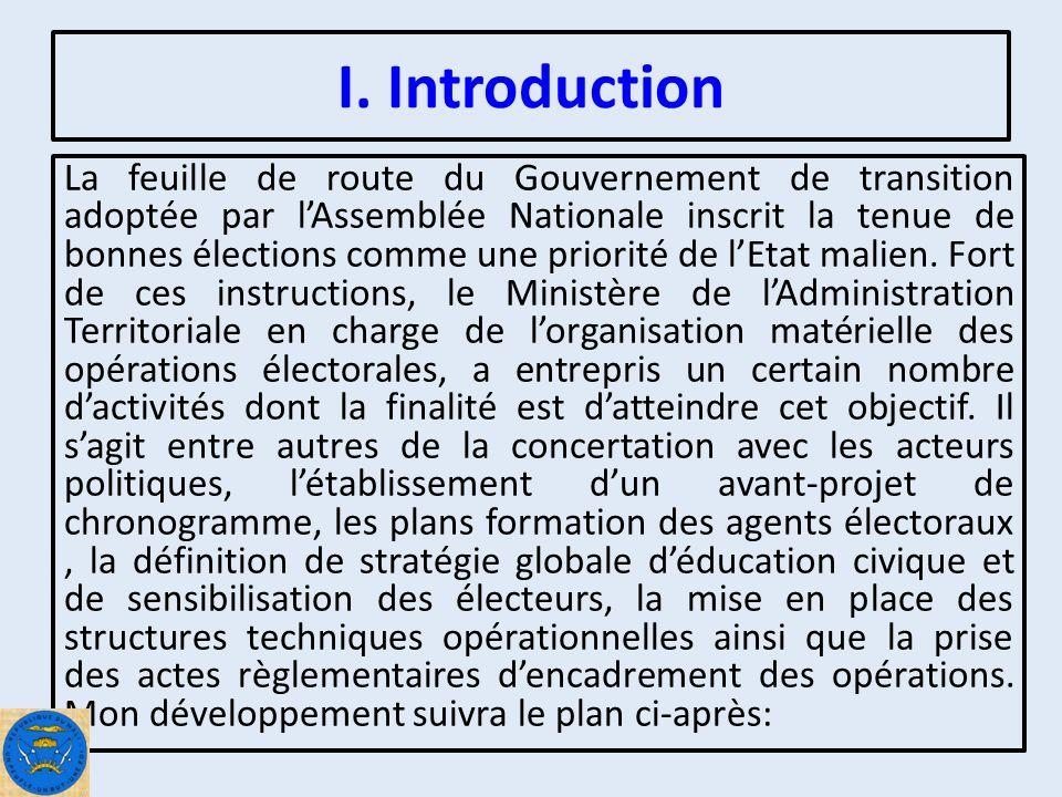 Plan de lexposé I.Introduction II.Chronogramme Electoral III.