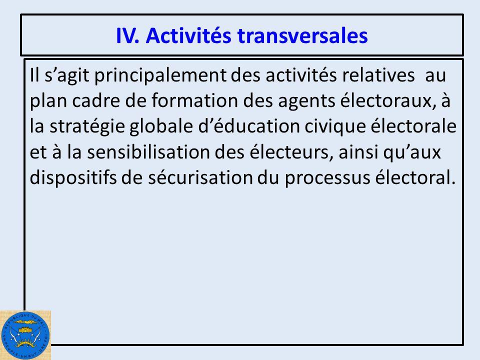 IV.1 Formation Electorale Le Ministère de lAdministration Territoriale a élaboré un plan cadre de formation avec lappui du partenaire IFES.