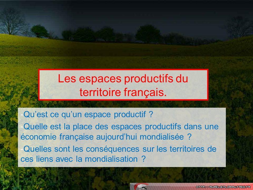 Les espaces productifs du territoire français. -Quest ce quun espace productif ? -Quelle est la place des espaces productifs dans une économie françai